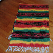 Mexican Falsa Blanket red-green-yellow colors  Mexico classic RASTA XL