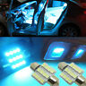 2x Ice Blue 31mm 12smd LED DE3175 Bulbs For Car Interior Dome Map door Lights