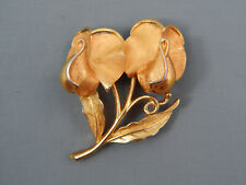 Rare Vintage Crown Trifari Sweat Pea Orchid Flower Brooch Pin