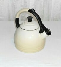 Le Creuset Enameled Steel 1.7 Qt Oolong Off White Cream Whistling Tea Kettle
