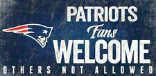 "NEW ENGLAND PATRIOTS FANS WELCOME WOOD SIGN w ROPE 12"" X 6"" NFL FOOTBALL"