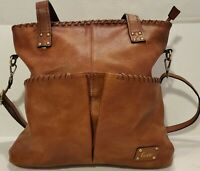 Love One Love All Brown Faux Leather Tote Bag Lrg Purse Whipstitch Adjust Strap