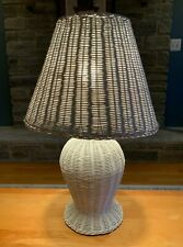 LG White Shabby Chic Wicker Table Lamp with Wide Shade