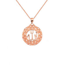"Solid 14k Rose Gold Diamond Filigree Round Allah Pendant Necklace (1"")"