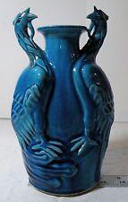 "yrn106 ANTIQUE CHINESE POTTERY VASE TURQUOISE BLUE PHOENIX BIRDS 8 3/4"" HIGH"