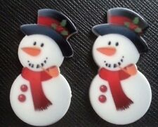 2 x Cute Snowman Christmas Flatback Planar Resins Flat Back Resin Snowmen