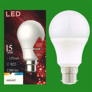 1x 15W (=125W) LED GLS A65 BAYONET CAP BC B22 6500K Day Natural Light Bulb Lamp