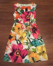 NEW BNWT GEORGE WHITE FLORAL SKATER SLEEVELESS FLOATY DRESS SIZE 8