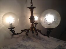 Vintage French 3 Arm Bronze Chandelier Ceiling Light - Etched Glass Globe Shades