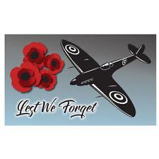 Remembrance, Lest we Forget Military Flag 5ft x 3ft RAF flag.Poppy Flag