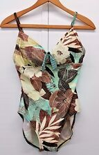24 & Ocean Women's One Piece Brown Swimsuit Tropical Floral Print Size M