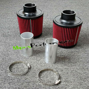 """2.25"""" Dual Twin Cone Filter Air Intake Kit  for BMW N54 335i 135i Z4 Turbo 3.0L"""