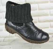 El Naturalista Yggdrasil Black Leather Womens Ankle Boots Shoe Size 6 UK 39 EU