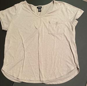 Women/'s Rue 21 White Lightweight Split V-Neck Lace Accent Blouse Top Sz S-XL