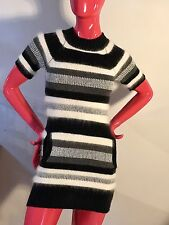 JUICY COUTURE Sweater Dress Angora,Wool Stripes Short Sleeves Youth Girls Sz:10
