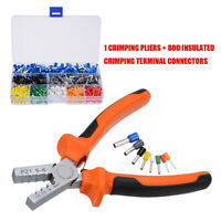 800Pcs Crimp Tool Ferrule Crimper Plier Cable Wire Terminal Connector Set