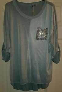 Ladies Diamante Pocket Lounge Top in Pastel Aqua will Fit UK 10-12