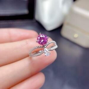 2.20Ct Round & Pear Cut Pink Sapphire Crown Engagement Ring 14k White Gold Over
