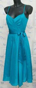 Monsoon Stunning Silk Linen Dress Size 8 UK Lined Belted