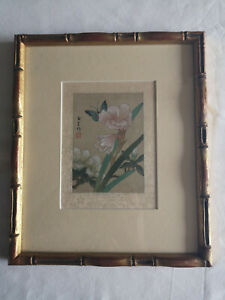 Old Japanese Watercolour on Silk Paper Signed and Seal Mark Flowers Butterfly