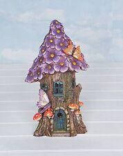Large Solar Illuminated Fairy House Garden Ornament Tree Trunk Flowers Butterfly