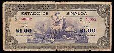 Estado de Sinaloa 1 Peso Series A 1-7-16, M3759a / SI-SIN-10. Very Good.