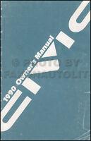 1990 Honda Civic Owners Manual Original Sedan and Hatchback OEM Owner Guide Book