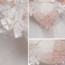 Womens White Diamond Net Lace Gloves Wrist Wedding Lady Costume Opera Party Prom