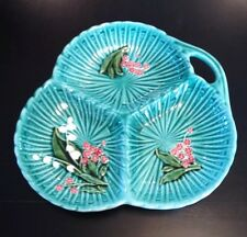 """RARE German Majolica Lilly Of The Valley 10"""" dish w/3 compartments"""