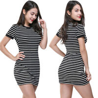 US Fashion Women Fitted Bodycon Short Sleeve O Neck Striped Evening Party Dress