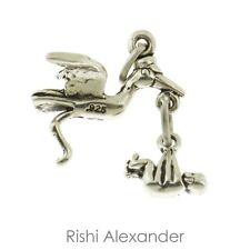 925 Sterling Silver Stork with a Baby Charm Made in USA