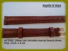 BRACELET MONTRE CUIR VÉRITABLE  MARRON  EXTRA LONG  BOUCLE DORÉE 12mm ref3503