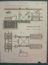1813 daté impression antique ~ mélanges marbre moulin élévation plan marqueterie