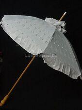 Parasol Victorian Edwardian Downton Abbey style White eyelet extra long handle