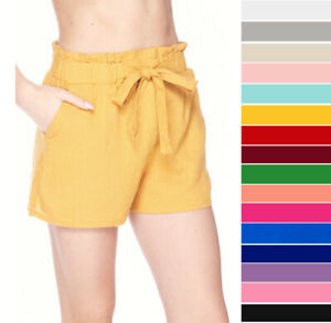 Women's Linen Paperbag High Waist Shorts Tie Belt Pockets Casual Solid Woven