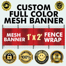 Custom Vinyl MESH FENCE Outdoor BANNER sign flag 13OzHeavy whether proof 260 GSM