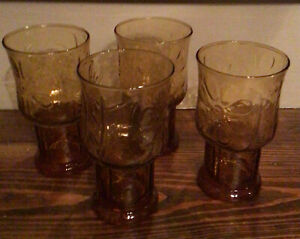 """LIBBEY AMBER COUNTRY GARDEN DAISY 6"""" DRINKING GLASSES VINTAGE  SET OF 4 GLASSES"""