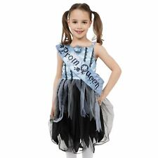 Girls Kids Gothic Zombie Prom Queen Halloween Fancy Dress Costume Child Outfit