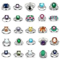 925 Solid Silver Sapphire Amethyst Wedding Ring White Gold Women Jewelry Sz 6-10
