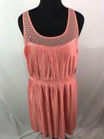 LC Lauren Conrad Women's Blouson Dress Pleated Polka Dot Peach Illusion XL AE13