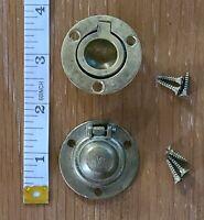Set Of 2 Vintage Brass Recessed Round Drawer Pulls