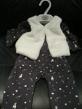 M&S BABY GIRL'S 2 PIECE OUTFIT ALL-IN-ONE + FLEECE JACKET - 0-3 MONTHS - BNWT