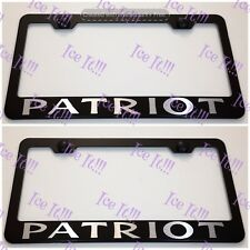 2X Jeep PATRIOT Stainless Steel Black License Plate Frame Rust Free W/ Bolt Caps