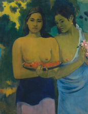 Oil painting paul gauguin - Two Tahitian Women girl in landscape hand painted