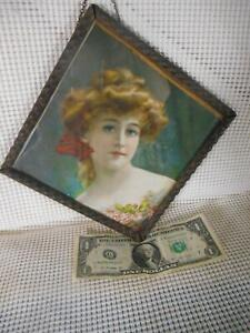 Antique Flue Cover PRETTY YOUNG VICTORIAN LADY Made in Germany Diamond Shape