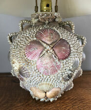 Antique Victorian Sailors Valentine Seashells Shell Art Lamp, Quite Fabulous!