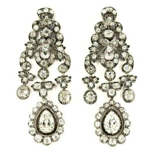 Chandelier Earrings Sterling Silver 925 Antique Style Rare and Important Jewelry