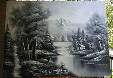 Bob R Style Inspired Black White Oil Painting Picture Forest Lake Mountain 47x35