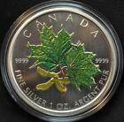 2002 Canada $5 Dollars Fine (99.99%) Silver Coin Maple Leaf Coloured Tax Exempt