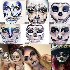 Sugar Skulls Temporary Tattoo Face Gems Jewels Body Glitter Stickers Halloween